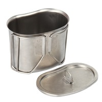 Stainless Steel Military Canteen 1QT Portable With 0 5QT Cup Green Cover Camping Hiking