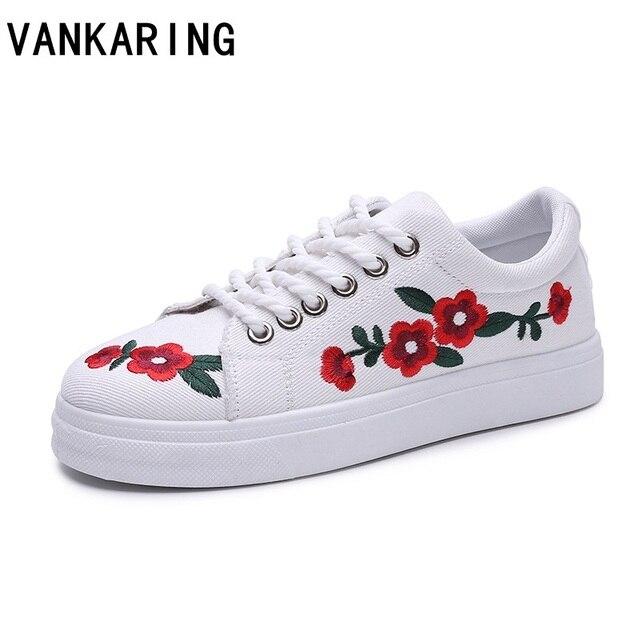 Vankaring 2018 летняя и весенняя обувь на платформе обувь из джинсовой ткани на шнуровке женские балетки вышивкой повседневная обувь мокасины-лоферы