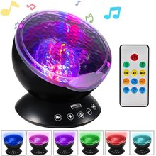 Music Starry Sky Night Light 7 Colors Aurora Ocean Wave Projector LED USB Lamp Luminaria Master