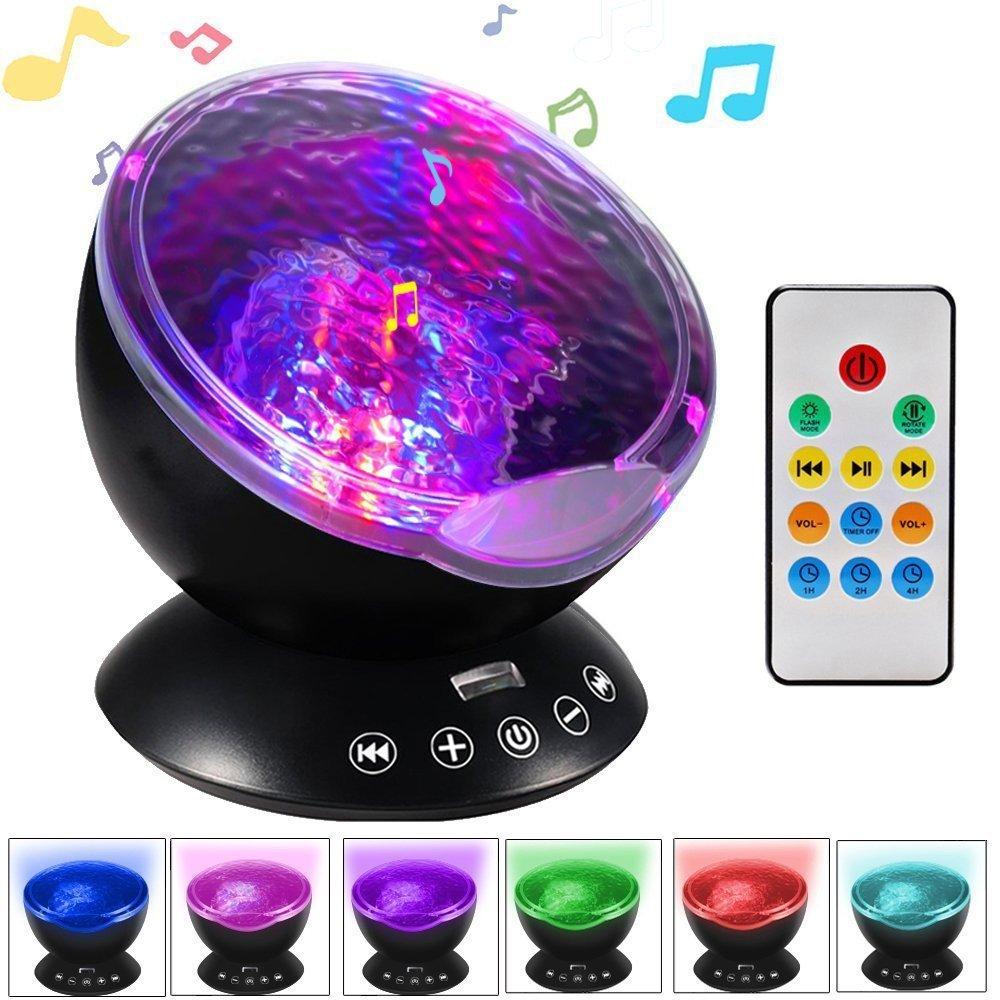 Music Starry Sky Night <font><b>Light</b></font> 7 Colors Aurora Ocean Wave Projector LED USB Lamp Luminaria Master Nightlight Baby Children Gifts