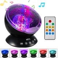 Muzyka Starry Sky Night Light 7 Kolory Aurora Fal Oceanicznych Luminaria Mistrz Projektor Lampa LED USB Nightlight Baby Dzieci Prezenty
