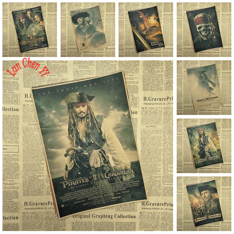 Piratas del Caribe Capitán Jack Sparrow Johnny Depp Cartel retro bar pintura decorativa papel kraft