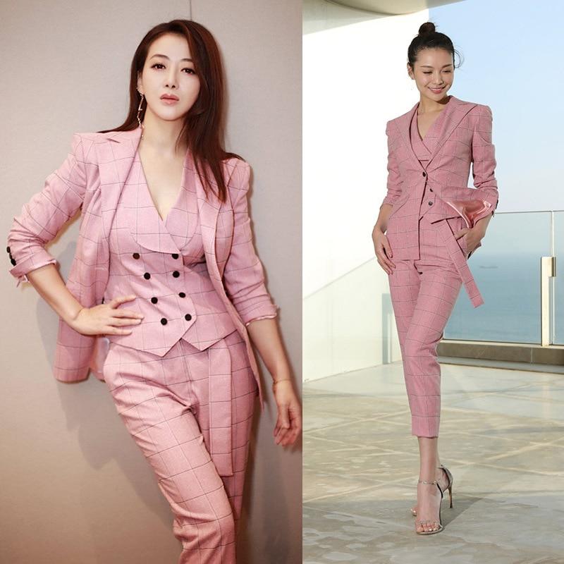 2019 British Style Vintage Plaid Suits Set Women Pink Pants Set Office Lady Blazer + Vest + Pants 3 Pieces Set for Female Y221