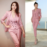 2019 British Style Vintage Plaid Suits Set Women Pink Pants Set Office Lady Blazer + Vest + Pants 3 Pieces Set for Female Y221