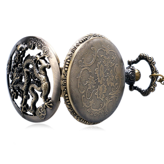 Vintage Watch Necklace Chinese Zodiac Dragon Hollow Bronze Quartz Dragonfly Pocket Watch Necklace Pendant Women Men Gifts