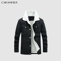 CARANFIER Winter Men Jacket Casual Solid Color Warm Jacket Plus Velvet Large Size Cotton Coat Lapel Design Men Jacket hip hop