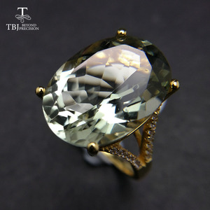 Image 2 - Nice Black Friday & Christmas gift Big natural green amethyst Ring yellow gold color 925 silver gemstone jewelry for girls TBJ