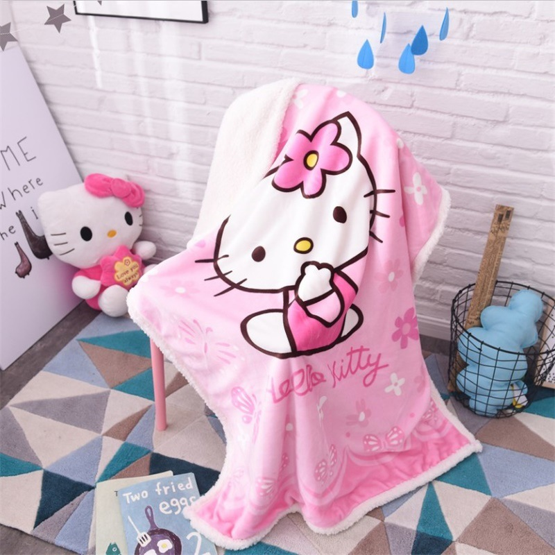 Cartoon Doraemon Hello Kitty Warm Soft Fleece Blankets Double Layer Thick Plush Throw on Sofa Bed Plane Plaids Solid Bedspreads