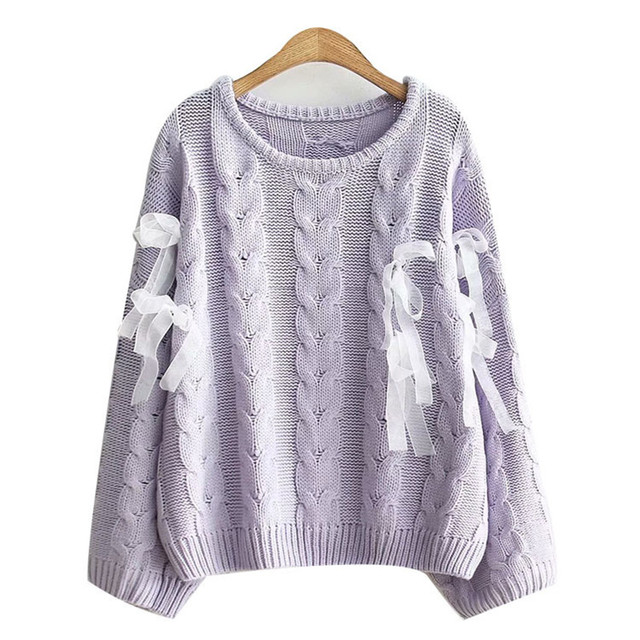 Autumn Japanese Female Solid Sweaters Soft Sister Teens Lace Up Ribbons  Fashion Lovely Cute Knitwear Kawaii a780a9189