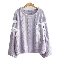 Autumn Japanese Female Solid Sweaters Soft Sister Teens Lace Up Ribbons Fashion Lovely Cute Knitwear Kawaii Sweater for Women