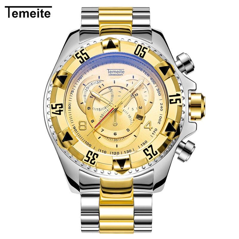 Mens Fashion Creative Big Dial Gold Watch Luxury Brand Stainless Steel Quartz Wristwatches Male Sport Watches Relogio Masculino