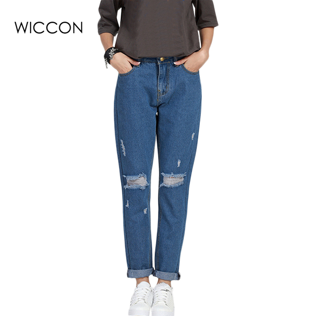 cd4f127f7d5 S-5XL Plus Size Spring Women Boyfriend hole jeans Full Length High-waist  Ripped jeans Causal jeans femme denim pants BF