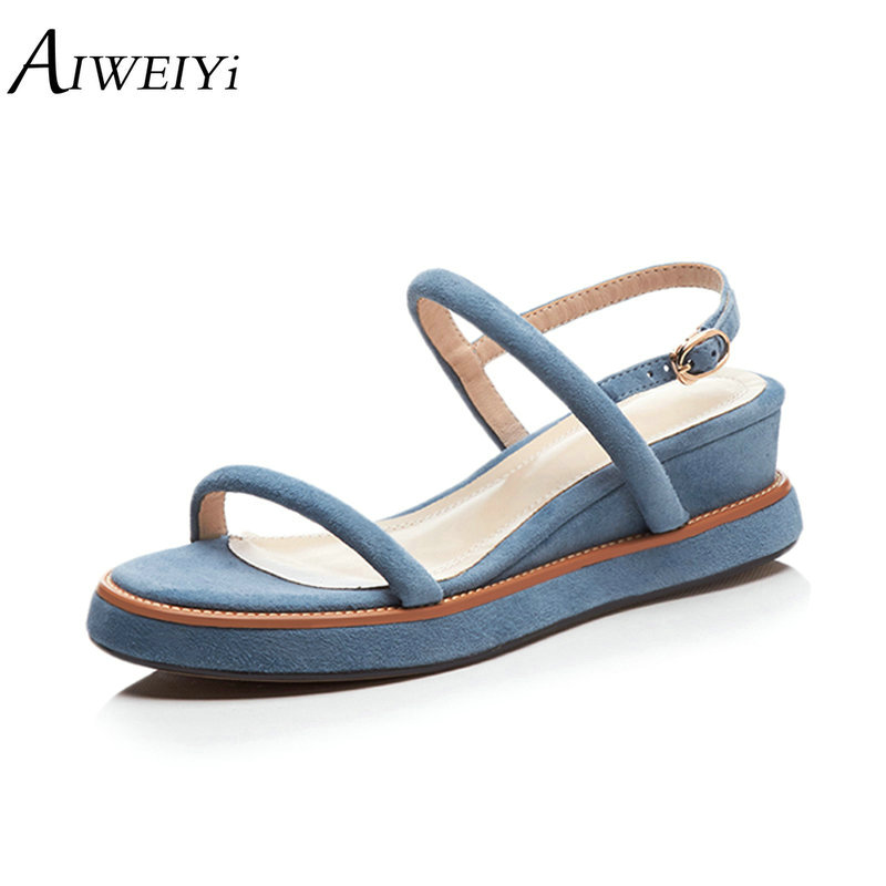 Negro Aiweiyi apricot Cómodo Black Mujeres Cuña Sandalias Verano Cuero Moda Gladiador Azul Femenino Zapatos azul Auténtico zqT1FrzP