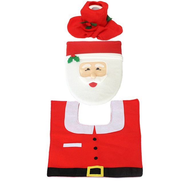 3pcs Set New Santa Claus Snowman Elf Christmas Bathroom Toilet Seat Cover Rug Mat Washroom