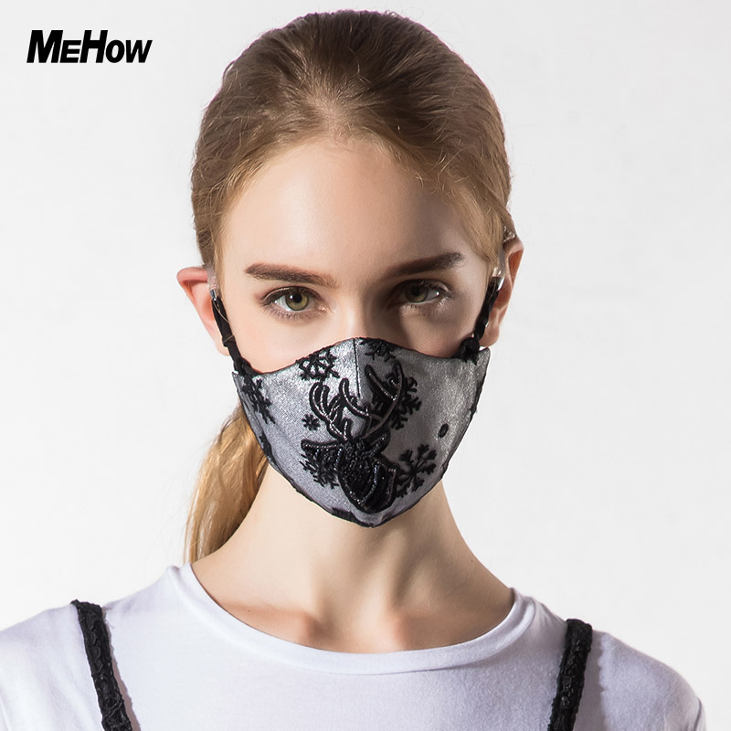 MeHow Silicone Rubber Mouth Mask Women Embroidery Deer Pattern PM2.5 Abime Anti Haze mouth Dust Mask Nose Filter mask Halloween 50pcs high quality dust fog haze oversized breathing valve loop tape anti dust face surgical masks
