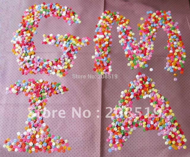 NB0072 Mini Buttons 6mm Round 2 holes resin mix 1000pcs from stock colors DIY scrapbooking accessories