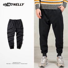 NELLY Men Sweater Pants Cotton Ankle Banded Black/Grey Sweatpants Sports Skateboard Running Track Trousers