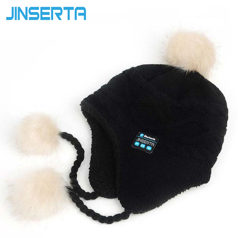 JINSERTA Soft Winter Warm Beanie Knitted Hats for Girl&Women Wireless Bluetooth 4.1 Smart Cap Headphone with Mic Bluetooth Hat unisex women warm winter baggy beanie knit crochet oversized hat slouch hot cap y107
