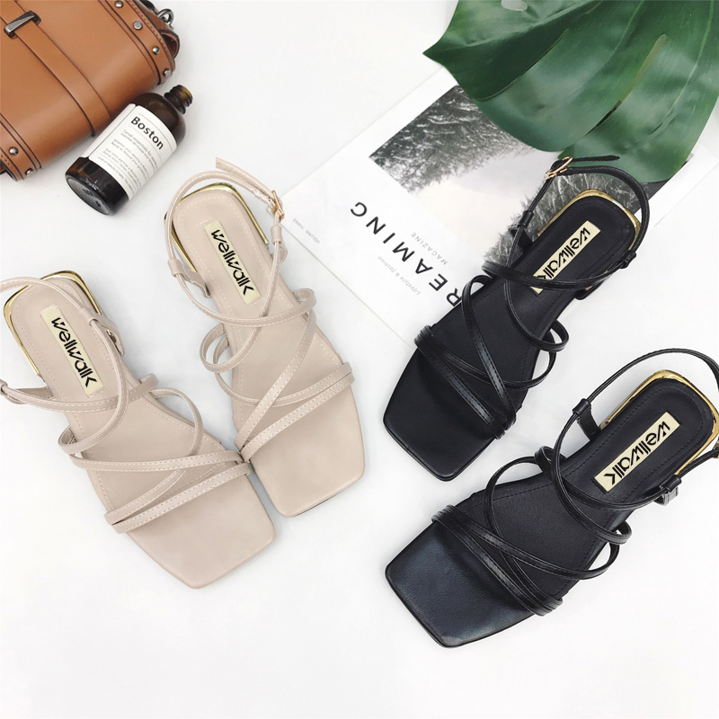Fashion Women Square Heel Shoes Rome Sandals 2018 PU Leather Spring Summer Causal Women Shoe Size 34-39