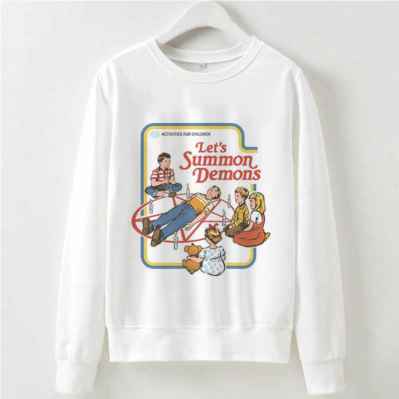 หญิงเสื้อกันหนาว Funny Graphic บูชา 90s Aesthetic Hoodies Grunge เสื้อผ้าผู้หญิงฤดูใบไม้ร่วงฤดูหนาว Warm สีขาว Pullover