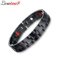 LOULEUR 2017 316L Stainless Steel Health Magnetic Bracelet Men Jewelry Black Energy Health Charm Bracelets Bangles