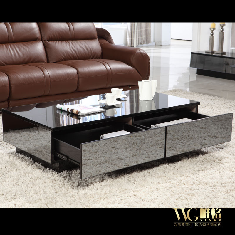 Stylish Black Mirror Effect Glass Living Room Coffee Table Storage - Mirrored coffee table with storage