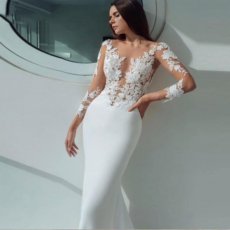 Elegant Wedding Dresses Mermaid 2019 Appliques Sexy Illusion Long Sleeve Stain Wedding Gown White Ivory Vestido De Noiva