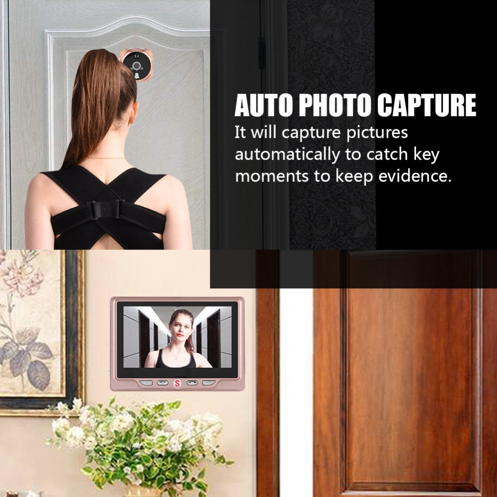 """Digital Video DoorBell Camera Viewer 4.3"""" LCD Color Screen IR Night  Door Peephole Photo Motion Detection With 1G Memory Card"""