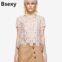 Floral Lace Blouse 2017 Summer Sexy Sweet Three Dimensional Hollow Out Floral Lace Open Back Short