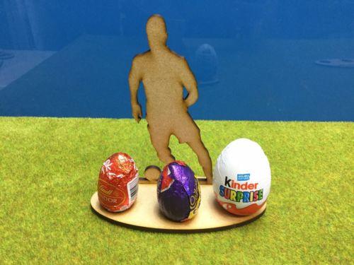 Corte a laser-Suporte do ovo de Páscoa Futebolista