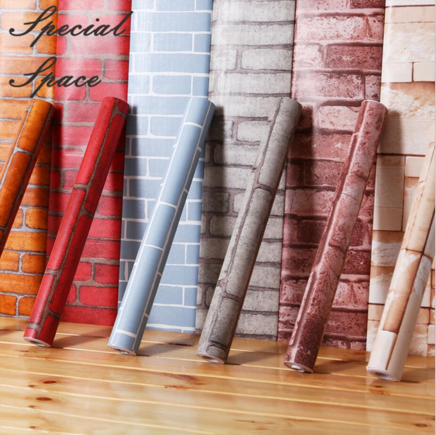 Self Adhesive Wall Paper Roll Waterproof PVC Vinyl Brick Kitchen Living Room TV Background Stone Wallpaper Brick Wall Sticker