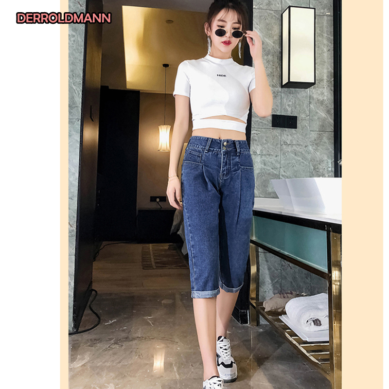Women Jeans Large Size Natural Waistline Straight Pants Washed Denim Cuff Decorative Button With Pockets Zipper  Jeans