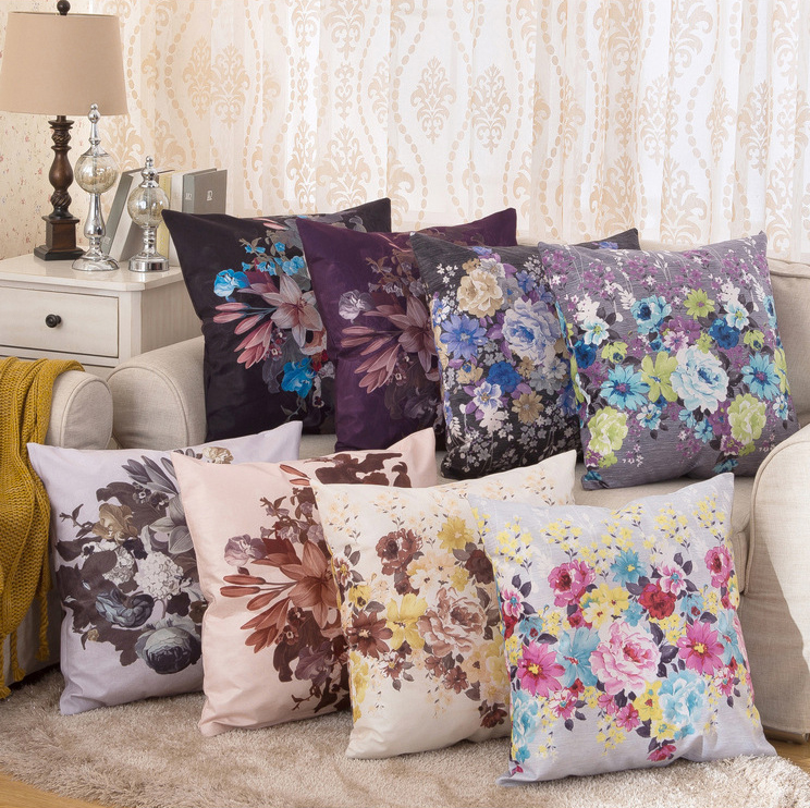 Vintage Colorful Painting Flowers 23 6 Soft Flannelette Cushion Cover Large 60 X 60cm Sofa