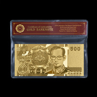 Thailand 500 Baht Gold Foil Banknote New Collection Metal Gold Banknote With COAPVC Frame For Souvenir