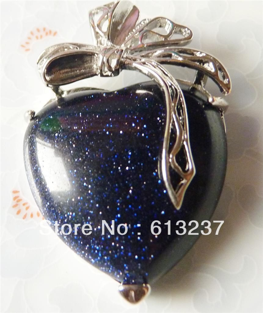 hot free Shipping new 2014 Fashion diy 30x40mm Fine carving heart-shaped blue sandstone pendant MY4775