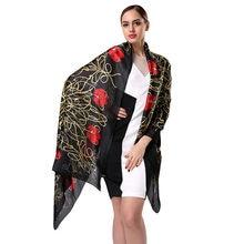 7313a0f206e Marque mode nouveau Design luxe Skiny soie femme longue impression écharpe  dame foulard foulards printemps Wrap S9A18770