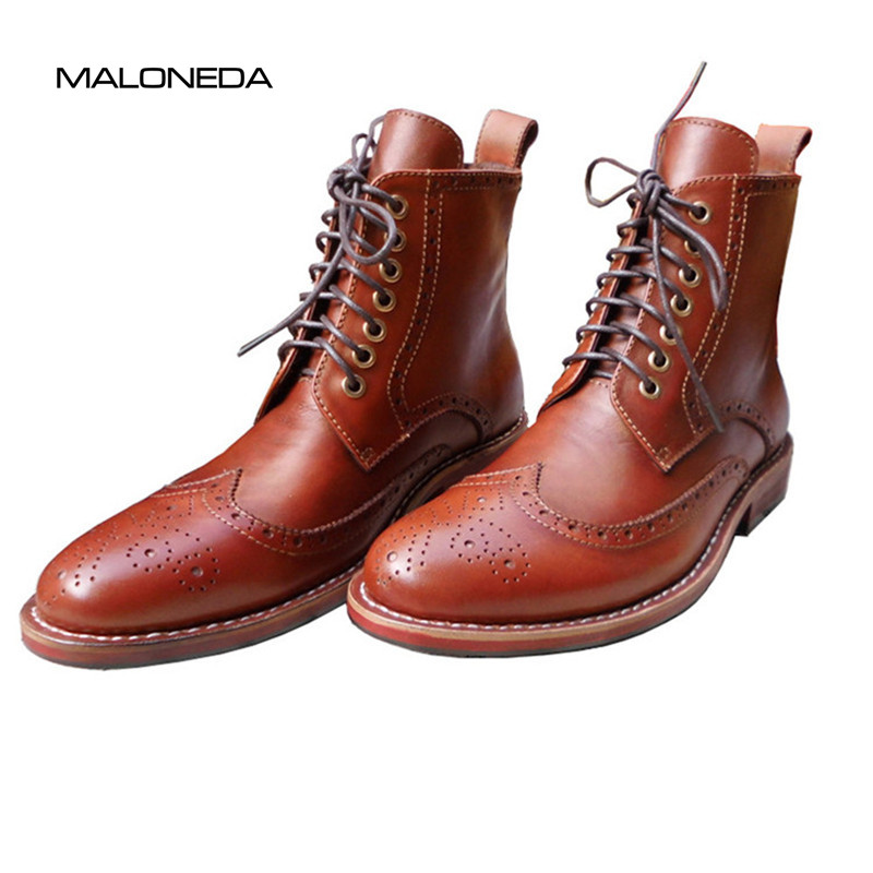 Bespoke Casual Brown Color Brogue Boot Handmade Mens 100% Genuine Leather Lace-up Short Boots Shoes