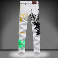 Mainstream Men S Large Size Korean Version Of The Trousers White Small Zhitu Pants Color Printing
