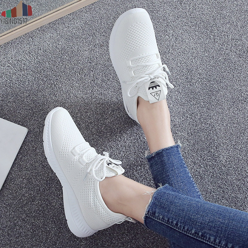 YIBING1517 New Arrival Breathable Flat Shoes Woman Summer Ladies Casual Shoes Lightweight Pink Soft Sneakers Women Zapatos Mujer zapatillas de moda 2019 hombre