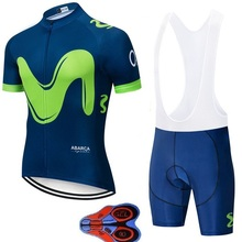 2019 Movistar Team short-sleeved cycling Jersey suit bib roa ciclismo bicycle MTB uniform mens clothing 9D
