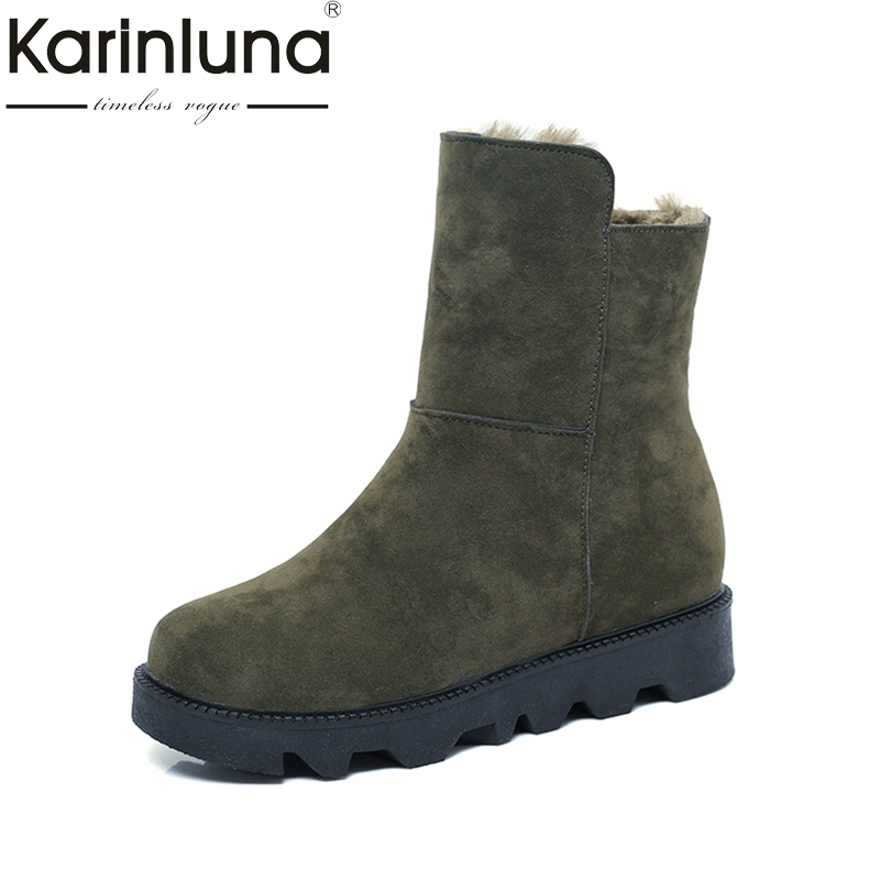 KARINLUNA 2017 size 35-40 platform flat heel woman shoes casual add fur slip on mid-calf boots women snow boots warm plush black black women boots flat heel casual