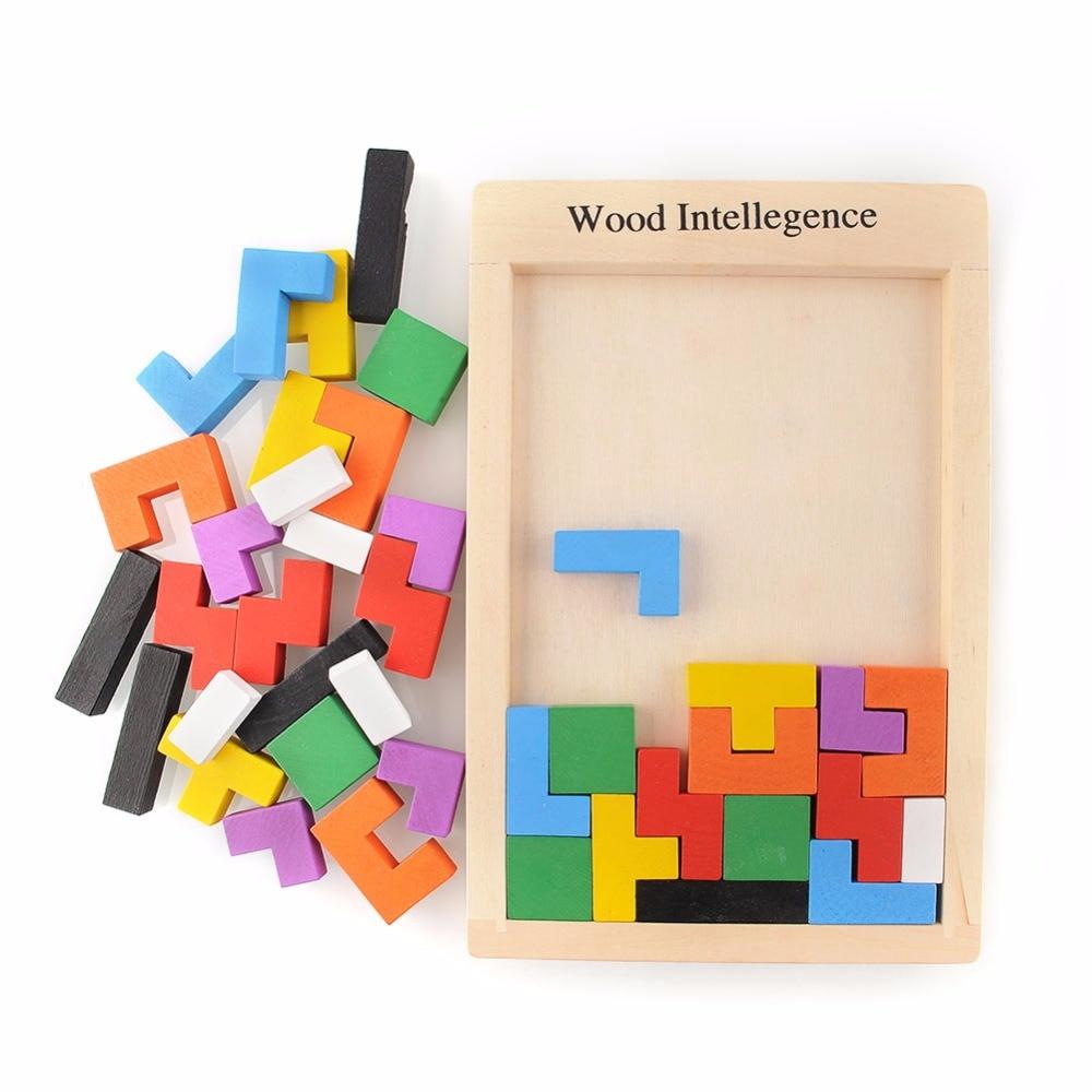 Bahan Montessori kayu Tangram Otak-Teaser Puzzle Tetris Matematika Prasekolah Belajar Pendidikan Awal Mainan