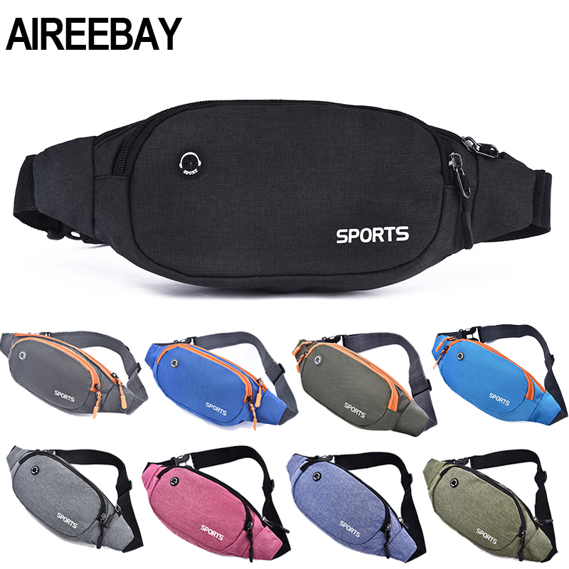 AIREEBAY Nylon Waist Pack Men Women Fashion Multifunction Fanny Pack Bum Bags Hip Money Belt Travel For Mobile Phone Bag Unisex