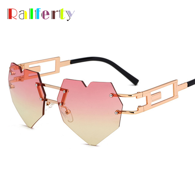 28acc6f3c6 Ralferty 2018 Vintage Heart Shaped Sunglasses Women Gothic Steampunk Sun Glasses  Retro Gold Pink Gradient Shades Oculos C520