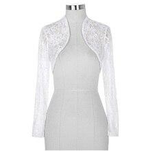 New Fashion Lace Bolero Jacket Ladies Cropped Long Sleeve Shrug Womens Bolero Jacket Black White Purple Bridal Wrap