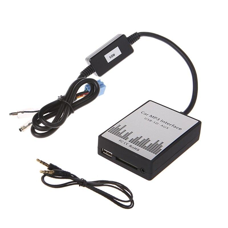 Est USB SD AUX voiture MP3 Interface de musique lecteur de voiture adaptateur CD changement de Machine pour Peugeot 106 206 RD3 citroën C3 C4 C5 8PIN