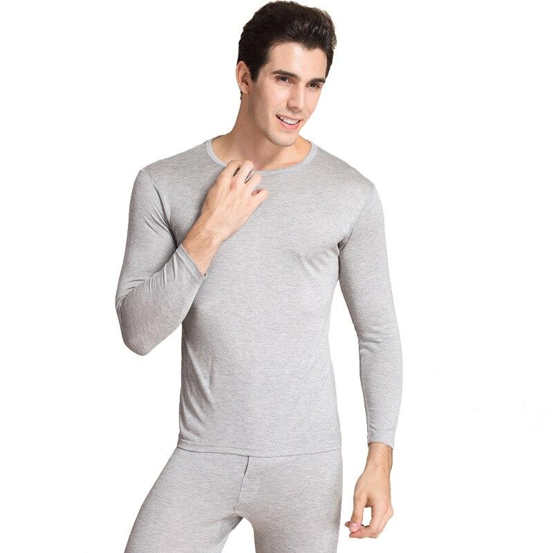 Hommes longs Johns hommes chaud ensemble de sous-vêtements hauts pantalon O cou homme thermique antibactérien Pijama ensembles 70% soie 30% coton 1075