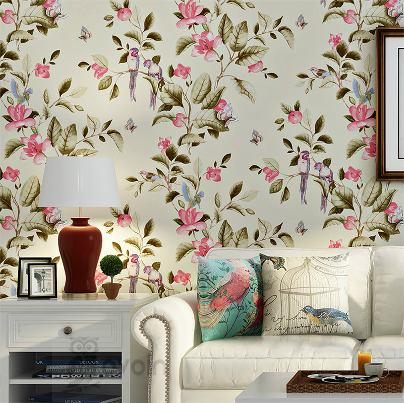 Buy chinese tradition vintage birds and for 3d wallpaper for living room in dubai