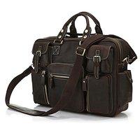 7028r Редкие Crazy Horse кожа Для мужчин; эспрессо Бизнес Портфели сумка для ноутбука отправки Дорожные сумки Огромный 16.5