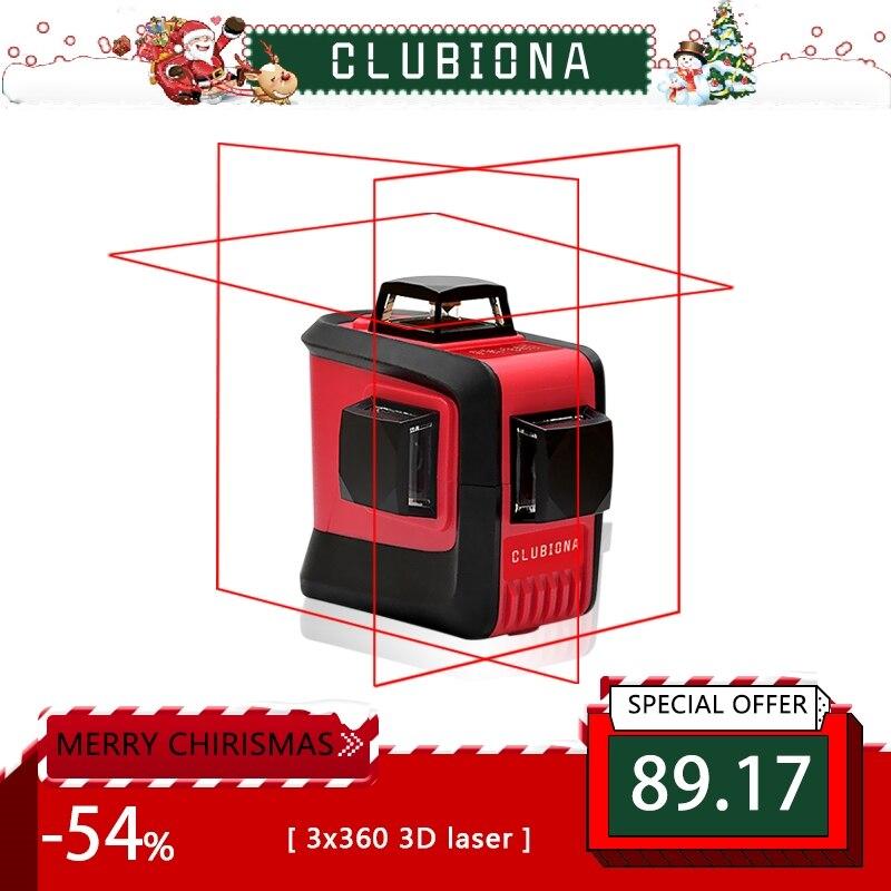 CLUBIONA 3D 360 rotante 12 croce livello Laser linee con inclinazione slash funzione, verticale e orizzontale Super Potente ricevitore OK
